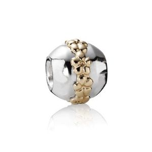 Pandora Retired 2 Toned Gold Saturn Flower Charm